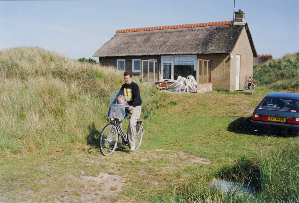 ameland june 1993 - me with our son on bike before cottage Duin Bos en Zee