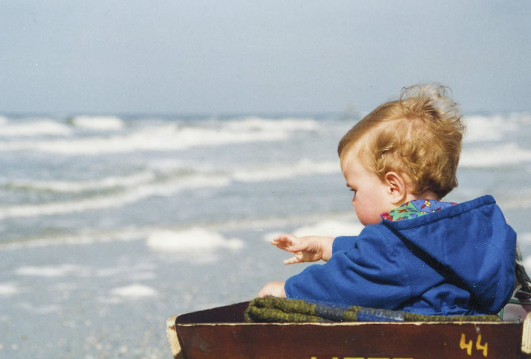 ameland june 1993 - our son at 14 months looking at the sea
