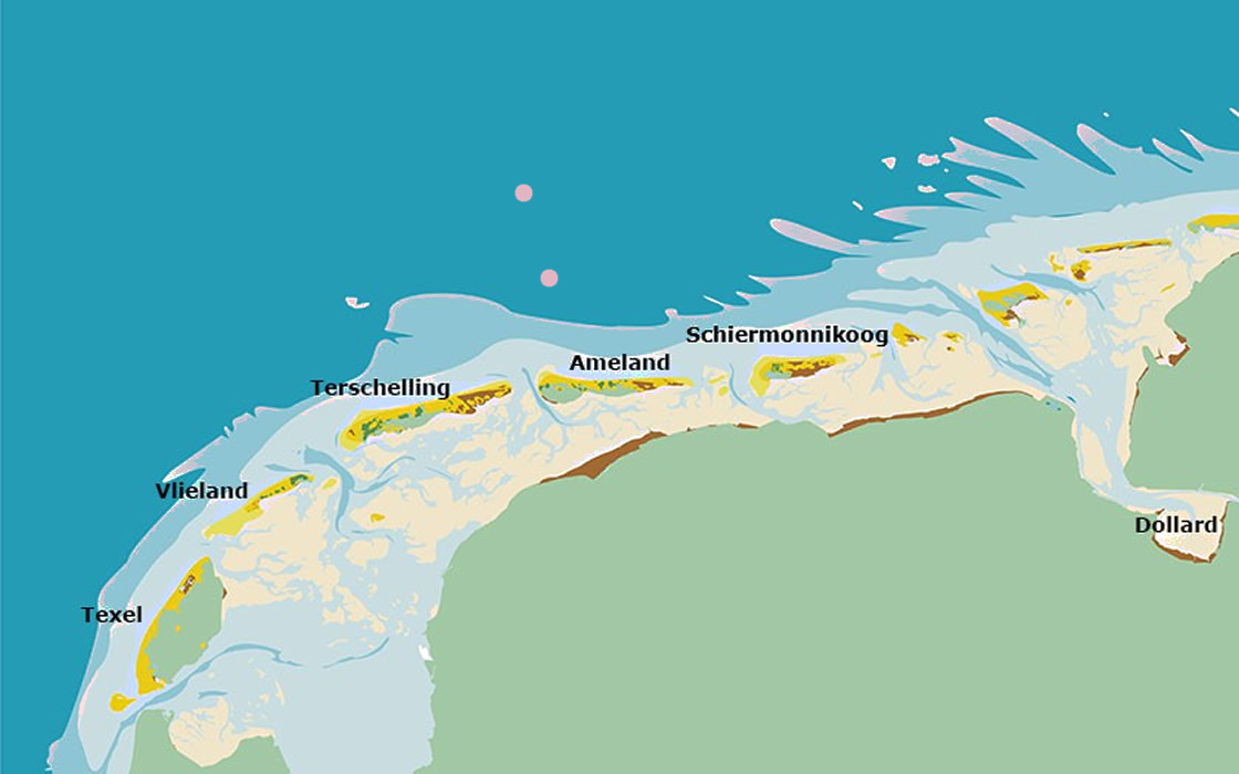 map op the Wadden sea in the Netherlands